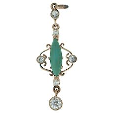 Pretty Antique Jade and Old Mine Cut Diamond Lavalier Pendant in 14k Yellow Gold