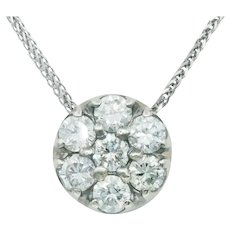 Estate Diamond Flower Cluster Pendant in 14k White Gold