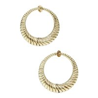 Vintage Mid Century Sloan and Co Reeded Gold Hoop Earrings for Non Pierced Ears