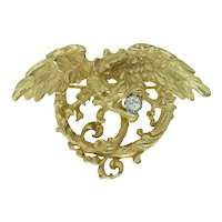 Antique French Griffin Pendant Brooch in 18k Gold with Diamond