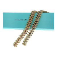 Pair of Tiffany Vintage Bracelets in Rubies Sapphires and 18k Gold