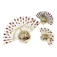 Vintage Retro Pendant Brooch and Earrings Set in with Ruby and Diamond Stars in 14k Gold