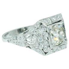 Art Deco Floral Old European Cut Diamond 14k White Gold Engagement Ring