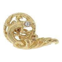 Antique Art Nouveau Salamander Cufflinks in 18k Gold with Diamonds