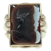Vintage Carved Sardonyx Hardstone Double Warrior Cameo in a Bold 10k Gold Mounting