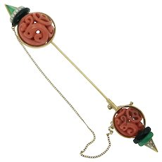 Vintage Carved Coral Chrysoprase Onyx and Diamond Jabot in 18k Gold