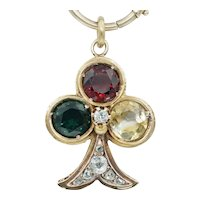 Antique Trefoil Pendant Fob Charm in 18k Rose Gold with Old Mine Cut Rose Cut Diamonds and Gemstones