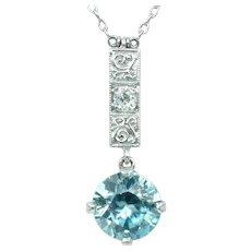 Art Deco Blue Zircon and Diamond Pendant