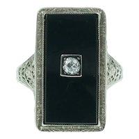 Art Deco Onyx Diamond 14k White Gold Filigree Ring