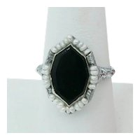 Art Deco Onyx Seed Pearl White Gold Filigree Ring