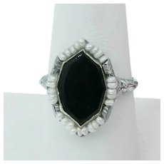 Art Deco Onyx Seed Pearl White Gold Filigree Ring