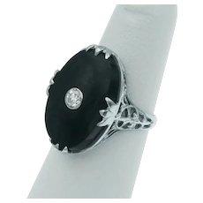 Art Deco Black Onyx Diamond and 14k White Gold Filigree Ring