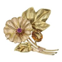 Vintage Retro Flower Brooch in 14k Rose and Yellow Gold with Citrine and Ruby