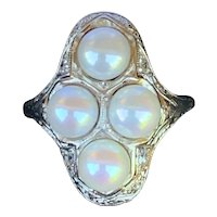Dreamy Fresh Water Pearl and Diamond Filigree Ring in 18k White Gold