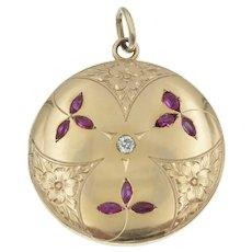 Delightful Antique Ruby Diamond Floral Engraved Locket in 14k Gold