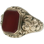 Antique Victorian Carnelian Ring in 14k Gold Repousse