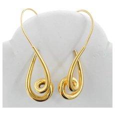 Sculptural Estate Earrings in Buttery 14k Gold