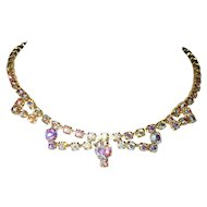 Festoon Necklace Bold to PASTEL Aurora Borealis Rhinestones Gold Tone