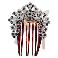 Art Deco Paste Hair Comb Pick Clip Platinum Tone Metal Tortoise Shell Color Black Diamond Glass Rhinestone