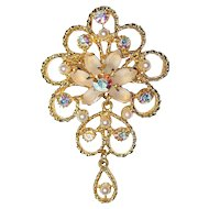 Twice Movable Pin Georgian Style LARGE Brooch AB Glass Rhinestone Seed Bead kinetic