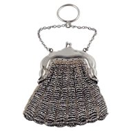 Victorian Purse 800 Silver Chatelaine Steel Cut Finger Mesh Beaded Signed German Bostonia Antique