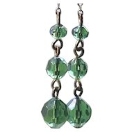 "3"" Long Green Beaded Glass Earrings Chain Dangle Clip Gold Tone"
