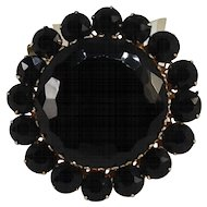 Large Jet Black Glass Pin Gothic Style Rhinestone Brooch Gold Tone