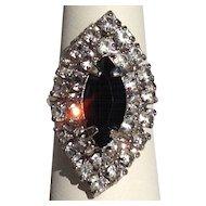 Big Cocktail Ring Diamond and Black Glass Rhinestone Silver Tone Adjustable