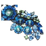 Sapphire Blue Pin Green Clear Glass Diamond Rhinestones Jet Black Japanned Enamel Flower Leaf BIG Brooch
