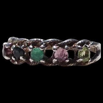 Sterling Ring Garnet Sapphire Emerald Amethyst Peridot Gemstone Red Blue Green Purple Tested Silver