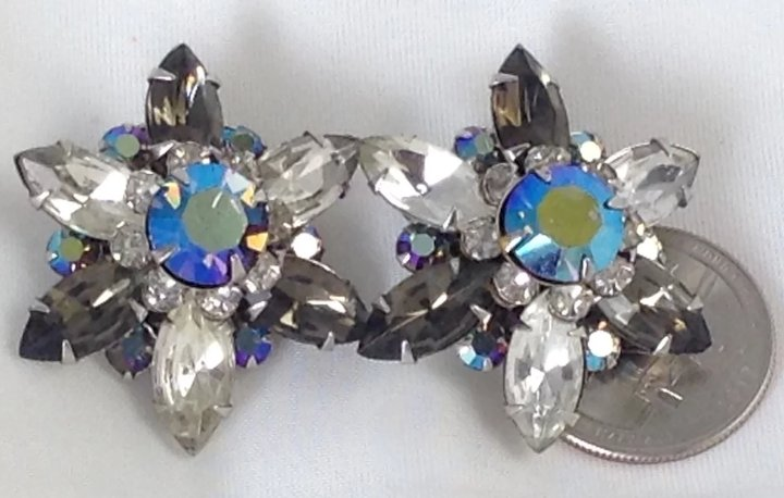 5086c4340 Big Layered Jeweled Earrings Signed Black Blue Gray Clear Glass Rhinestone  Signed Beau
