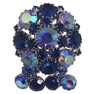 Weiss ODE TO BLUE Glass Rhinestone Demi Set Pin Earrings Signed Brooch Silver Tone