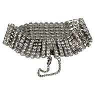 6 Row Classic Bracelet Jeweled Glass Diamond Rhinestone Silver Tone Mesh