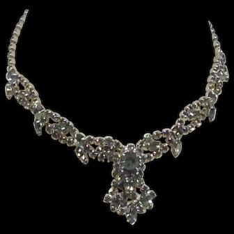 Unique Design Olive / Army Green Necklace Glass Rhinestone Silver Tone