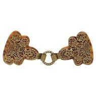 Victorian Belt Coat Buckle Flower Ornate Filigree Beaded Brass Imitation Tortoiseshell