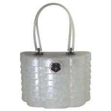 Beehive Pill Box Lucite Purse Mid Century Rhinestone Clasp Handbag White Wilardy Pearlized Signed
