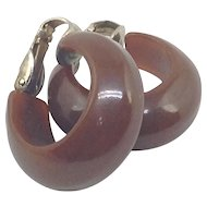 Bakelite Hoop Earrings Chocolate Brown Mid Century Mod Clips