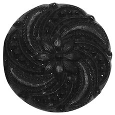 Victorian Mourning Button Converted to Earrings Black French Jet Glass Gothic Clip