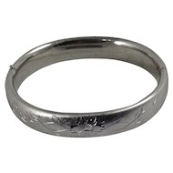 Flower Vine Bracelet Etched Carl Art Silver Tone Bangle Signed Mid Century