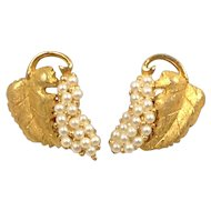 Hobe Earrings Grape Leaf Seed Bead Faux Pearl Brushed Gold Tone Signed Clip