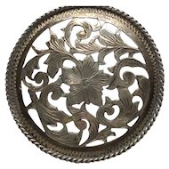 Sterling Door Knob Dresser Drawer Pull  Nouveau Style Trumpet Flower Vine Silver Signed Handle Mexico