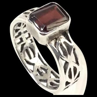 Red Garnet Sterling Silver Ring Mid Century Geometric Mod Hallmark 7