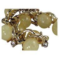 Confetti Coro Necklace Yellow Glass Diamond Rhinestones Chunky Signed Lucite Collar Choker