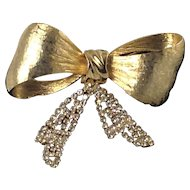 Large Bow Pin Mesh Glass Diamond Rhinestone Gold Tone Brooch