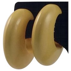 Yellow Bakelite Hoop Earrings Pierced Look Mid Century Plastic
