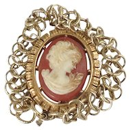 Cameo Charm Bracelet Triple Chain Link Carved Signed Gold Tone Victorian Style