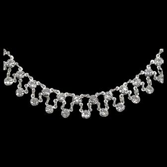 Sparkling Festoon Necklace Sterling Silver Clear Diamond Crystal Rhinestones