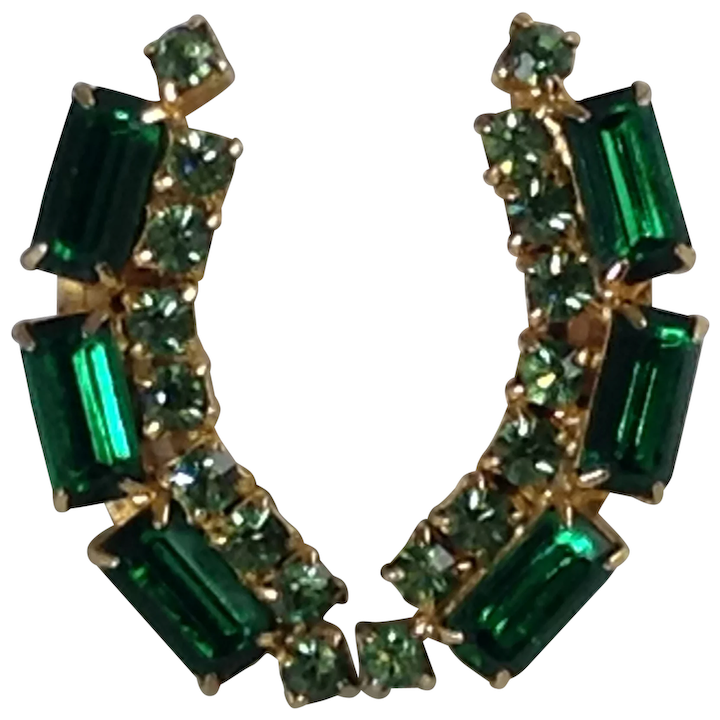 374aa20e18d31 Emerald Green Earrings Climbers Glass Rhinestone Gold Tone Long