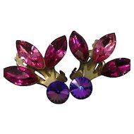 Margarite Earrings Blue to Purple Pink Clip Glass Rhinestone Gold Tone