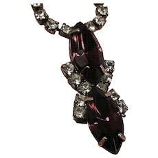 Purple Jeweled Necklace Glass Diamond Rhinestones Silver Tone Metal
